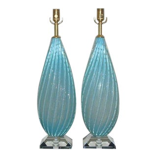 Vintage Murano Blue Opaline Glass Lamps For Sale