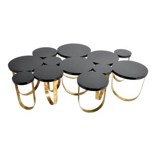 Italian Coffee Table With Brass Legs For Sale