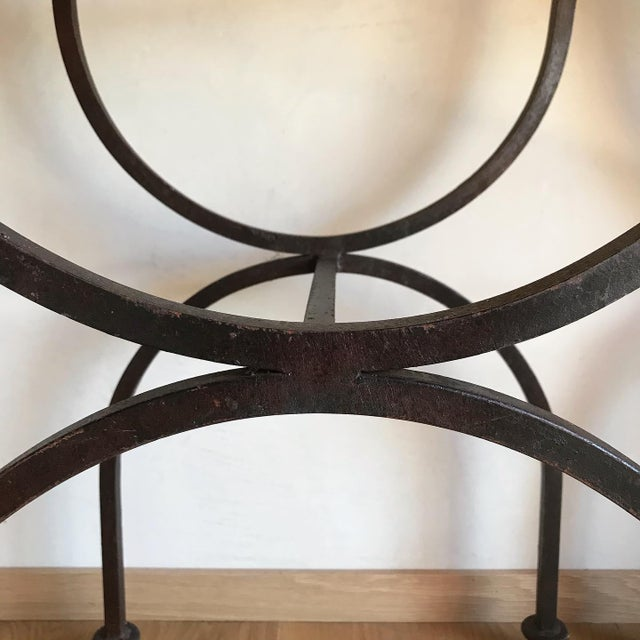 Mid 20th Century Rare Vintage Restored Hand Forged Solid Iron Campaign Safari Spanish Saddle Leather Rustic Neoclassical Bar Stools - a Pair For Sale - Image 5 of 13