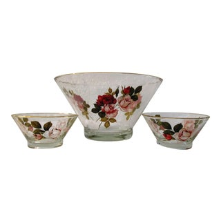 1960s Mid-Century Glass Rose Transferware Bowls - Set of 3 For Sale