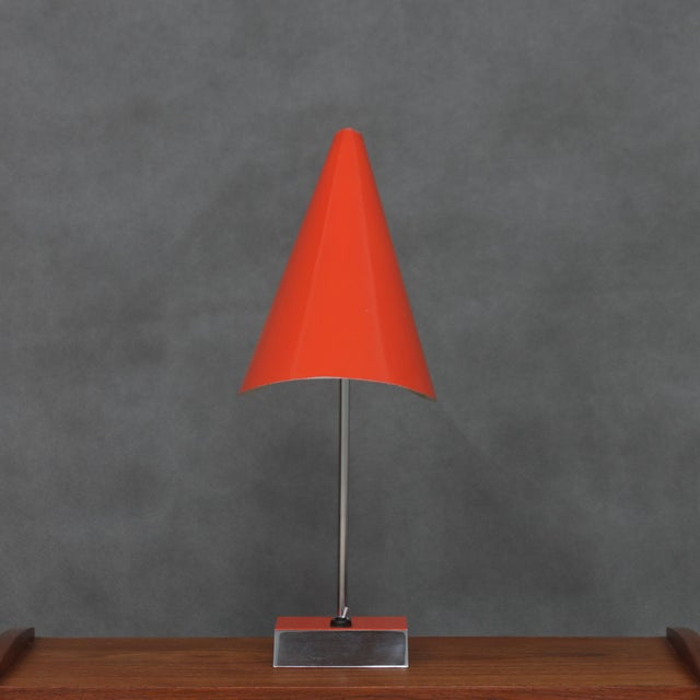 Desk lamp from the famous designer Jozef Hurka. It has a very light tin-laquered lampshade in the shape of a cone,...