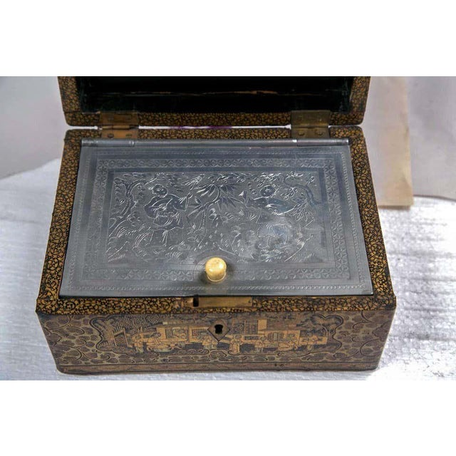 19th Century 19th Century Chinoiserie Antique Humidor Jewelry Box For Sale - Image 5 of 12