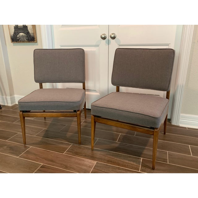 1960s Pair of Mid-Century Gray Linen Chairs For Sale - Image 5 of 11