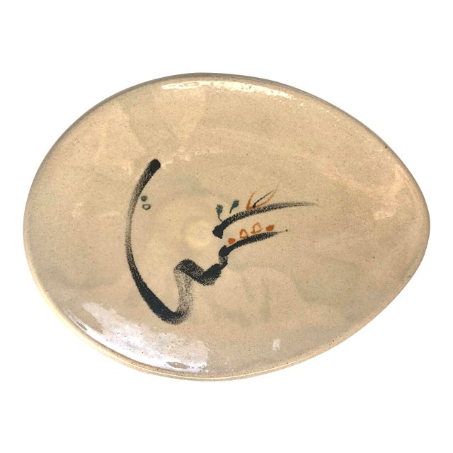 1950s Early Low Bowl by Noted Studio Potter, Minnie Negoro, Alfred University For Sale