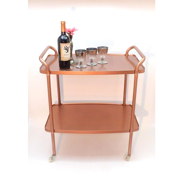 Mid-Century Modern Mid-Century Modern Rose Gold Rolling Bar Cart For Sale - Image 3 of 10