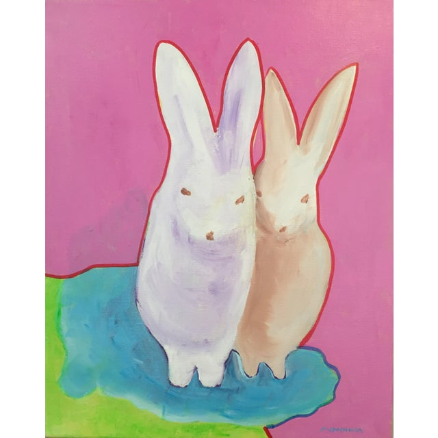 """""""The Bunnies"""" Pop Art Actylic Portrait in Pink For Sale - Image 4 of 4"""