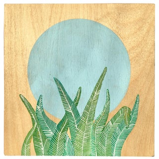 """Fern and Moon"" Painting on Block Signed Aimee Lusty For Sale"