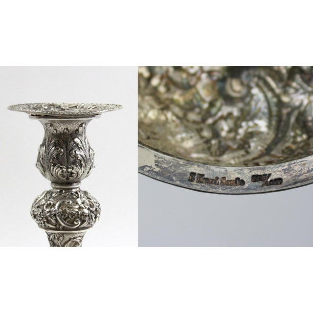 1900s Sterling Repousse Candlesticks - Set of 3 - Image 6 of 6