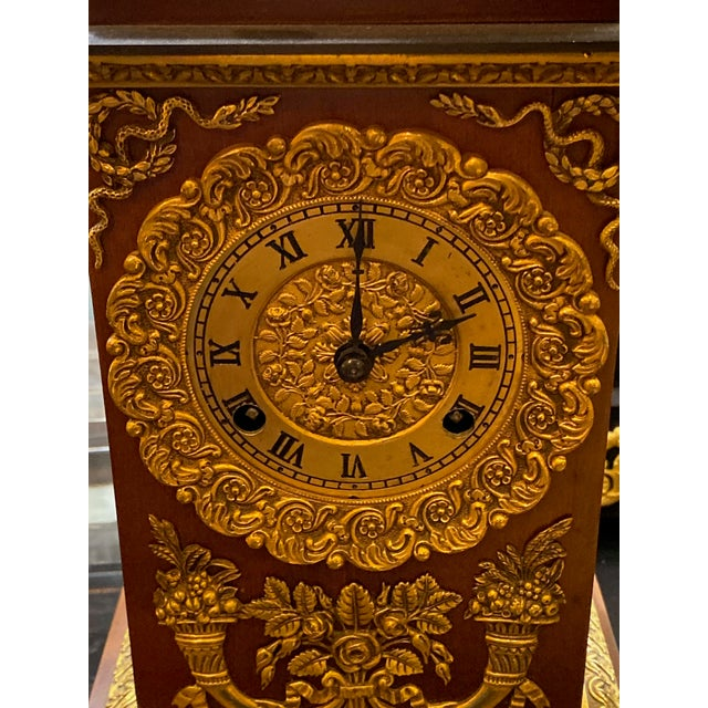 19th Century French Empire Ormolu Style Clock For Sale - Image 4 of 9