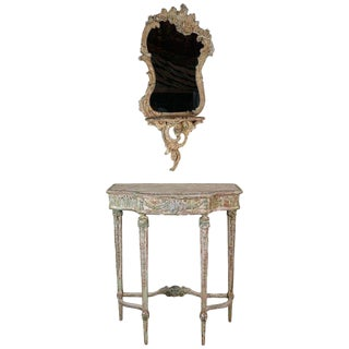 French Painted Mirror and Console, Circa 1930s For Sale