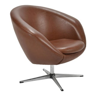 Overman Brown Swivel Lounge Chair For Sale