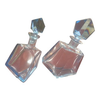1960s Blue Crystal Liquor Decanters - A Pair