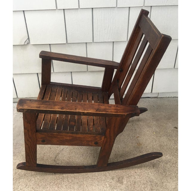 Early 20th Century Antique Stickley Style Mission Oak Child's Rocking Chair For Sale - Image 5 of 13