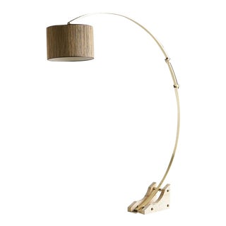 Brass Arc Floor Lamp With Travertine Base, Germany 1960s For Sale