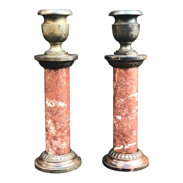 Antique 19th Century Grand Tour French Neoclassical Candlesticks - a Pair For Sale