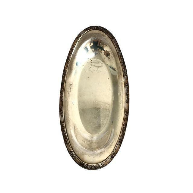 Boho Chic Silver Plate Oval Tray For Sale - Image 3 of 5