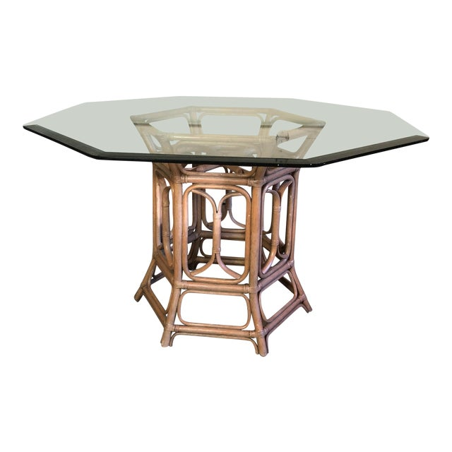 Boho McGuire Style Bent Rattan Table + Octagon Shaped, Beveled Glass Top For Sale