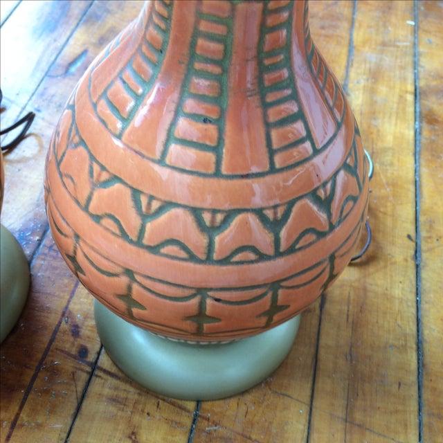 Mid Century Glazed Lamps - Pair - Image 4 of 6