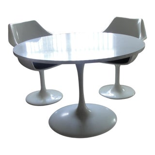 Mid Century Eames Era Tulip Table With 2 Tulip Chairs For Sale