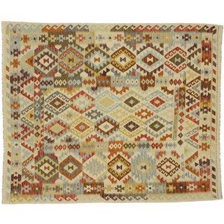 1960s Vintage Afghani Shirvan Kilim Rug - 6′8″ × 7′10″ For Sale