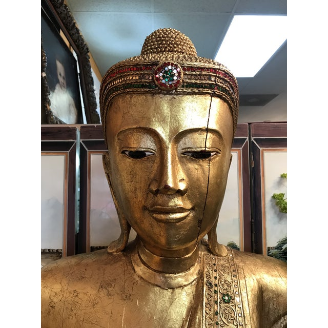Antique Hand Carved Wood & Gold Buddha For Sale - Image 5 of 5