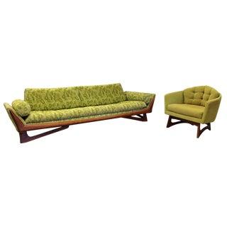 Mid Century Modern Pearsall for Craft Assoc. Green Gondola Sofa Chair Set 1960s