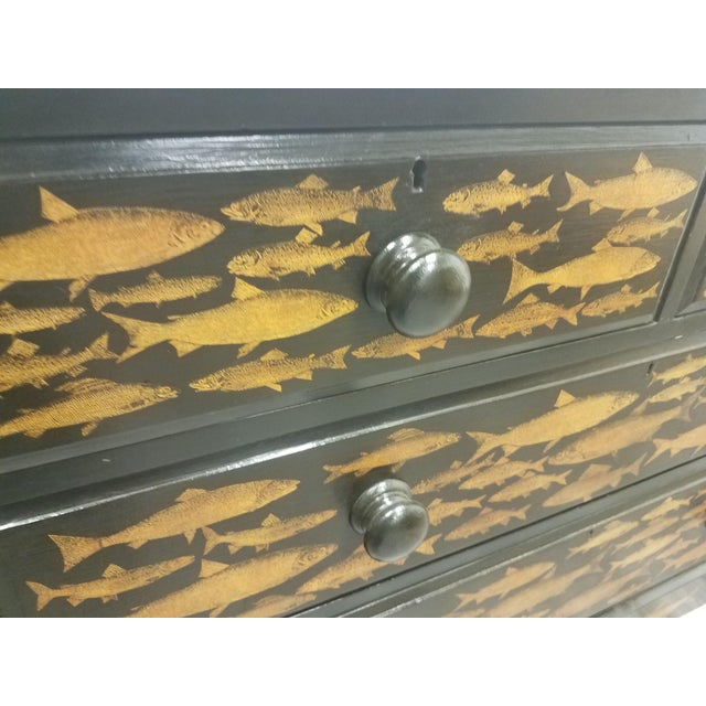 Antique English Fish Decoupage Chest of Drawers - Two Drawers Over Two Drawers For Sale - Image 9 of 13
