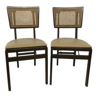 Mid Century Modern Wood Folding Dining Chairs by Stakmore For Sale