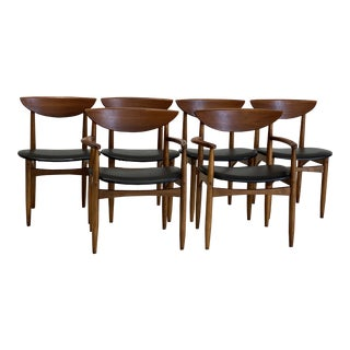Mid Century Lane Walnut and Black Vinyl Dining Chairs - Set of 6 For Sale