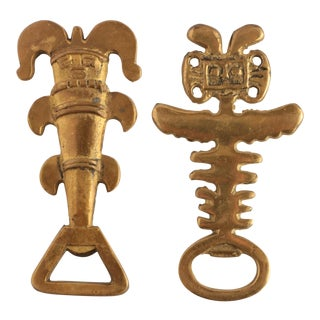 Pre Columbian Style Solid Brass Bottle Openers - a Pair For Sale