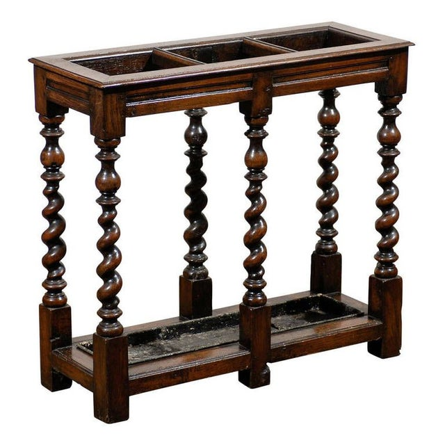 English Oak Umbrella Stand with Barley Twist Legs - Image 1 of 5