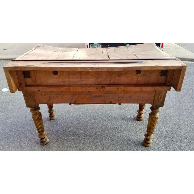19th Century Parisian Butcher Block Table For Sale - Image 4 of 13
