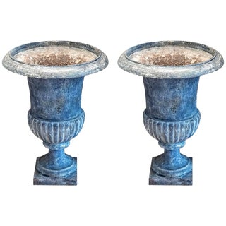 Pair of Medici Urns With New Paint For Sale