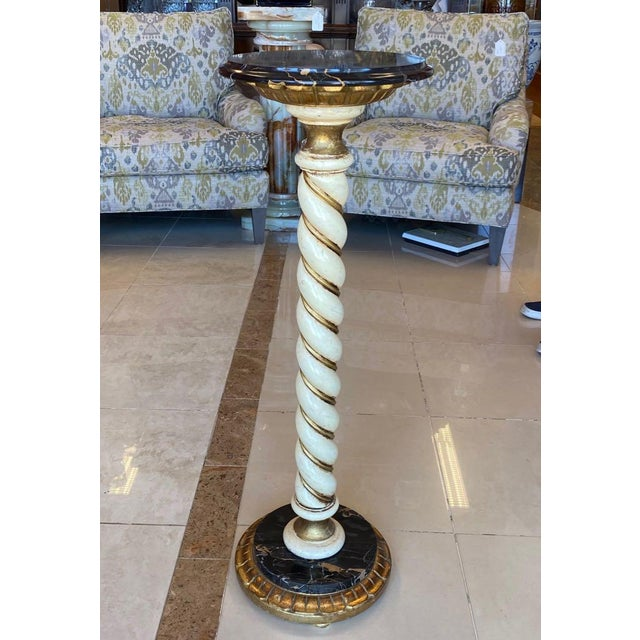 Florentia Florentia Twist Pedestal With Black Marble For Sale - Image 4 of 8