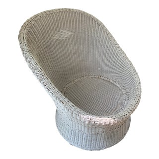 Large White Wicker Egg Cup Pod Lounge Chair For Sale