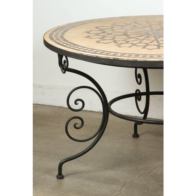 Moroccan Round Mosaic Outdoor Tile Table on Iron Base 47 In For Sale - Image 4 of 10