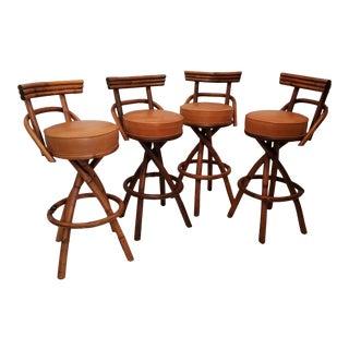 Vintage Swiveling Rattan Barstools - Set of 4 For Sale