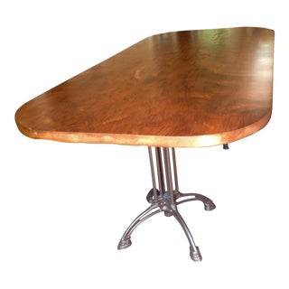 Rustic Redwood Slab with Iron Base Dining Table For Sale