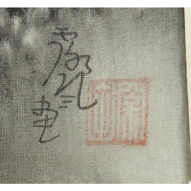 Asian Vintage Japanese Night Landscape Painting on Silk For Sale - Image 3 of 4