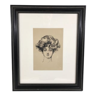 Vintage Ink Drawing of a Woman For Sale