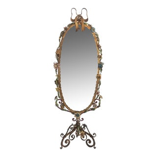 Hollywood Regency Tole Ware Chavel Mirror For Sale