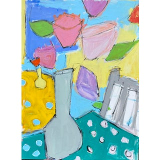 """""""Vase on Table"""" Contemporary Abstract Still Life Acrylic Painting by Sarah Trundle For Sale"""