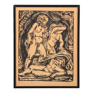 Abel's Death Expressionist Woodblock Print For Sale