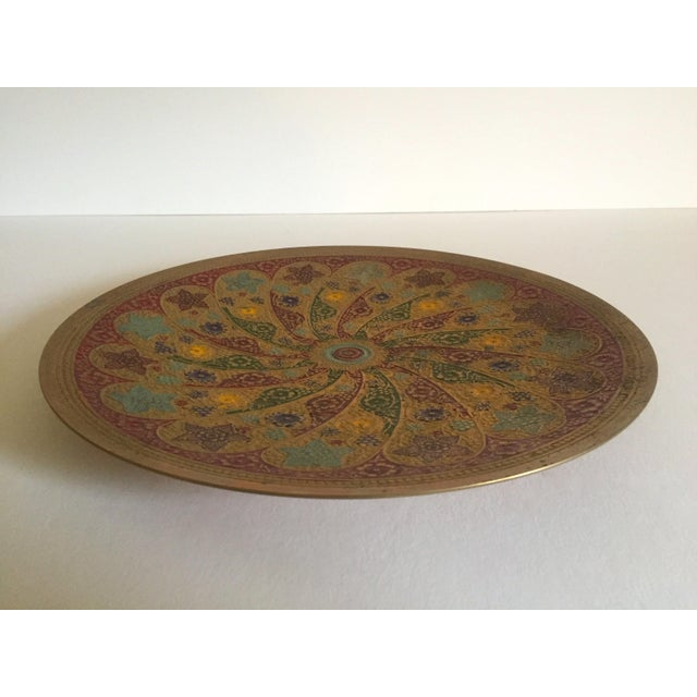 Brass Vintage Moroccan Multicolored Enameled Brass Relief Plate For Sale - Image 7 of 9