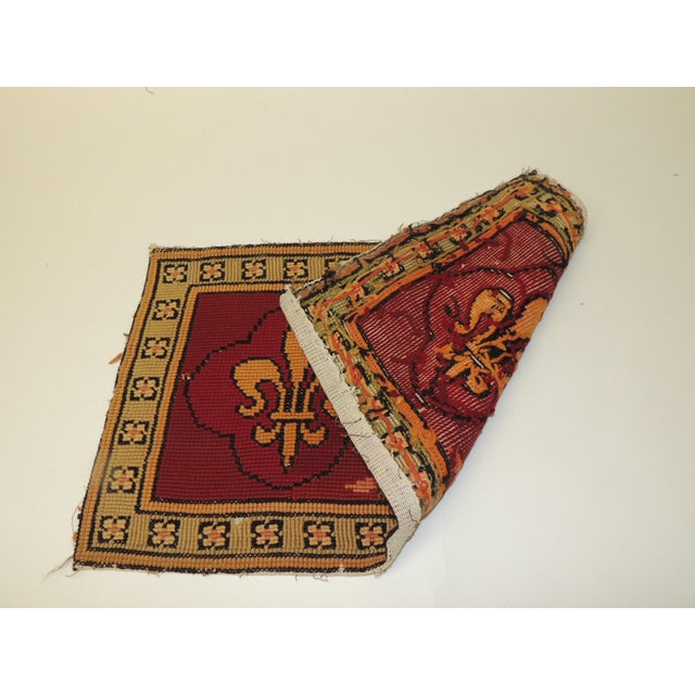 Vintage Fleur De Lis Yellow and Red Tapestry For Sale - Image 4 of 5