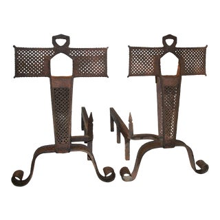 Late 19th Century Andirons With Perforated Metalwork - a Pair For Sale