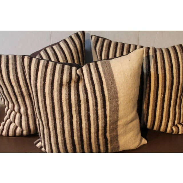 Primitive Group of Three Striped Indian Weaving Pillows For Sale - Image 3 of 4