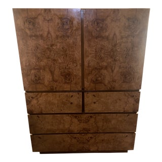 1970s Mid-Century Modern Burl Wood Gentleman's Chest by Lane For Sale
