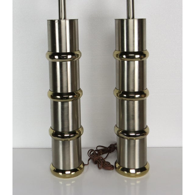 Mid 20th Century Vintage Mid-Century Modern Chrome & Brass Cylinder Lamps - a Pair For Sale - Image 5 of 13