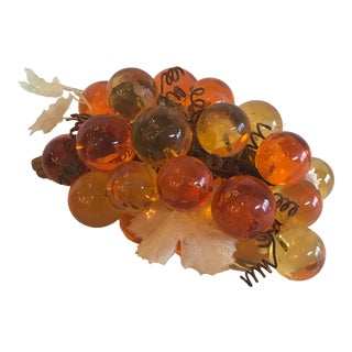 Mid Century Orange and Amber Lucite Grapes Bunch For Sale